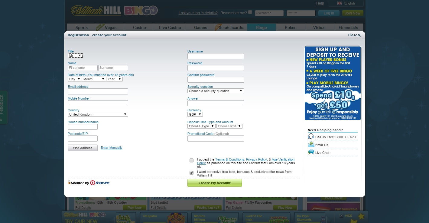 Open a new account at William Hill