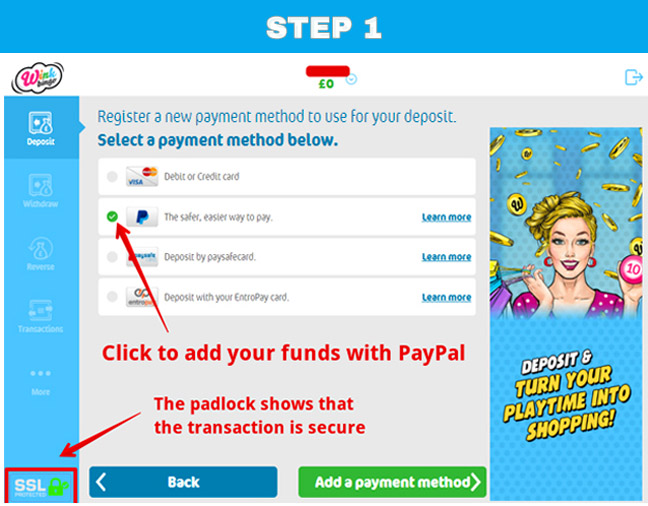The first stage of using PayPal in Wink Bingo
