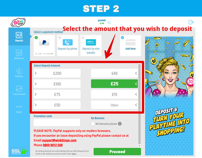 The second stage of using PayPal in Wink Bingo