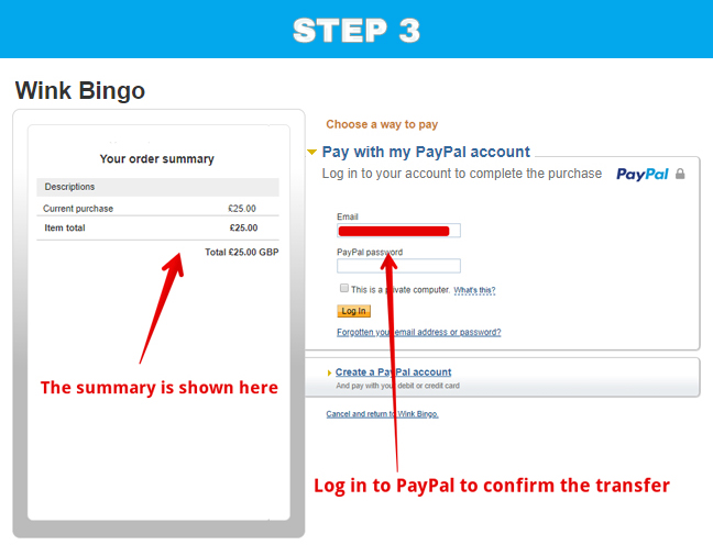The third stage of using PayPal in Wink Bingo