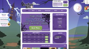 The home page of Vampire Bingo