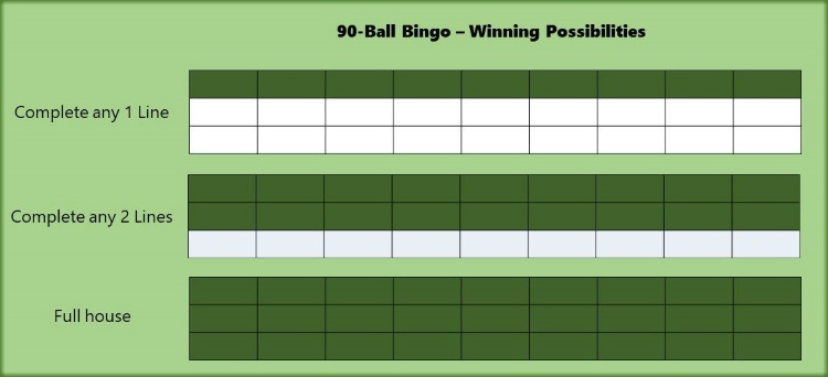 The Winning Lines in 90-Ball Bingo